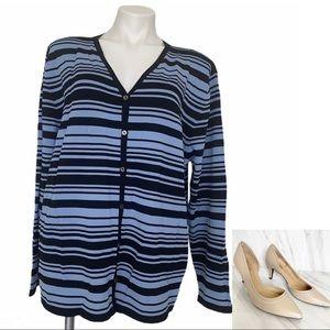 FINITY PLUS SIZE 3X stripe cardigan sweater